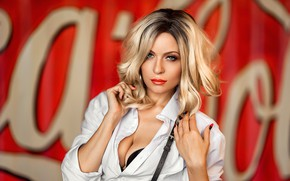 Picture look, sexy, pose, background, model, portrait, makeup, hairstyle, blonde, shirt, beauty, in white, Irina, bokeh, …