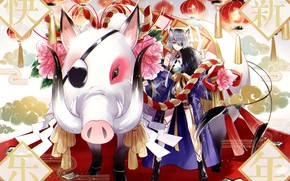 Picture girl, boar, Japanese motifs