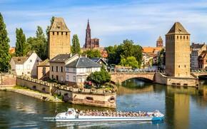 Picture bridge, France, ship, Strasbourg, Sobanska dam, Vauban Dam