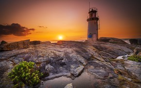 Picture sunset, coast, lighthouse, Spain, Galicia, Muxia