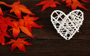 Picture autumn, leaves, love, background, tree, heart, Board, colorful, love, heart, wood, background, autumn, leaves, romantic, ...