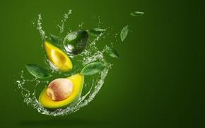 Picture water, squirt, green, background, splash, avocado