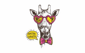 Picture love, glasses, giraffe, hearts, bow, bow, hipster