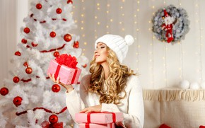 Picture winter, girl, mood, tree, makeup, gifts, Christmas, Aleksandr Zamuruev