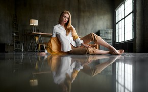 Picture girl, pose, reflection, makeup, blonde, blouse, pants, Ana Ray