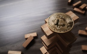 Picture gold, wood, bitcoin