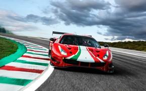 Picture clouds, turn, Ferrari, sports car, track, Evo, GT3, 488, Ferrari 488