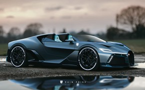 Picture Auto, Machine, Bugatti, Supercar, Concept Art, Matt, Sports car, Rain Prisk, by Rain Prisk, Transport …