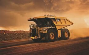 Picture road, clouds, dust, wheel, dump truck, CAT, Caterpillar, mining truck, Caterpillar 793F, CAT 793F