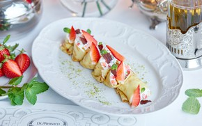 Picture tea, strawberry, pancakes, mint, cheese