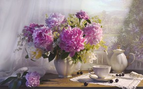 Picture cherry, bouquet, kettle, Cup, peonies
