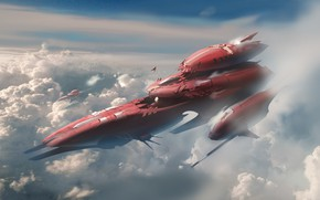 Picture The sky, Clouds, Space, Art, Spaceship, Fiction, Concept Art, Spaceship, Vehicles, Science Fiction, Spacecraft, Transport, ...
