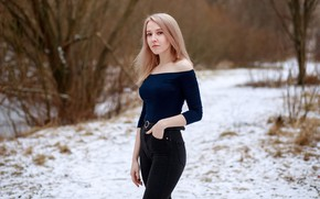 Picture winter, look, snow, trees, sexy, pose, background, model, portrait, jeans, makeup, Mike, figure, hairstyle, blonde, …
