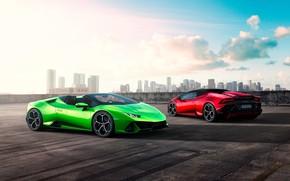 Picture machine, the sky, clouds, building, Lamborghini, sports car, Spyder, Evo, Huracan