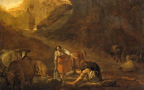 Picture oil, picture, Peter van Lar, 1642, A shepherd and a Washerwoman at the Source, By …