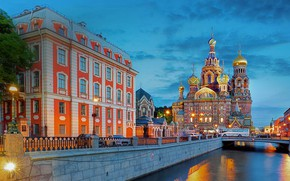 Picture the city, building, the evening, Peter, lighting, lights, Saint Petersburg, Cathedral, channel, The Savior on …