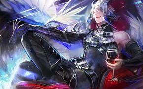 Picture glass, the demon, horns, Shingeki no Bahamut Virgin Soul, Azazel, Rage of Bahamut innocent soul