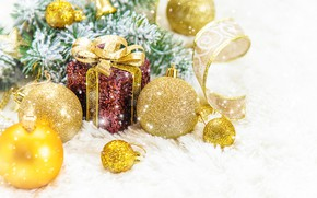 Picture snow, decoration, New Year, Christmas, gifts, happy, Christmas, snow, New Year, decoration, gift box, Merry, …
