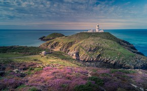 Picture twilight, sky, sea, ocean, coast, sunset, water, flowers, landscapes, slope, dusk, horizon, Wales, lighthouse, coastline, …