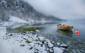 Picture snow, mountains, stones, shore, boat