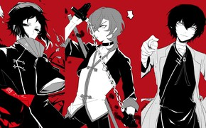 Picture collage, guys, characters, Bungou Stray Dogs, Stray Dogs: A Literary Genius