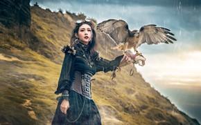 Picture look, girl, nature, style, rain, bird, hill, Asian, Falcon