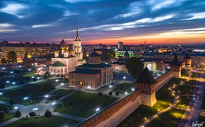 Picture the city, wall, the evening, lighting, lights, temple, The Kremlin, Tula, Ilya Garbuzov