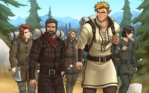 Picture forest, elf, sword, male, beard, backpack, hike, squad