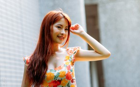Picture pose, smile, model, portrait, makeup, dress, hairstyle, Asian, redhead, bokeh