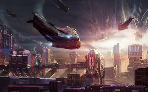 Picture city, fantasy, science fiction, sci-fi, digital art, buildings, artwork, skyscrapers, fantasy art, futuristic, Spaceships