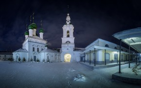 Picture winter, snow, night, the city, Church, temple, dome, the bell tower, Kostroma