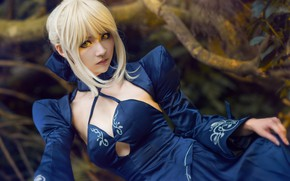Wallpaper forest, chest, look, girl, branches, blue, pose, style, background, portrait, hands, hairstyle, blonde, costume, neckline, ...