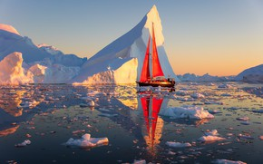 Picture landscape, nature, reflection, the ocean, boat, sailboat, morning, ice, sails, Greenland