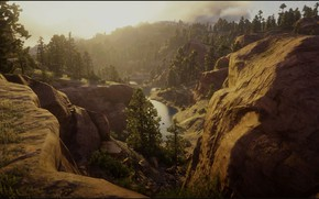 Picture Nature, Landscape, Waterfall, Game, Rocks, Red Dead Redemption 2, RDR 2, Sun Goes Down, Rockys, …