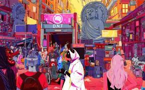 Picture Dog, The city, Cat, Neon, Robots, People, Style, City, Fantasy, Dog, Art, Art, Robots, Buddha, …