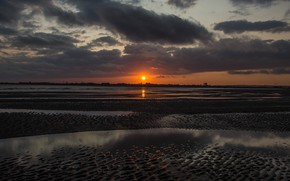 Picture sand, beach, the sky, the sun, clouds, sunset, clouds, reflection, shore, the evening, horizon, twilight, …