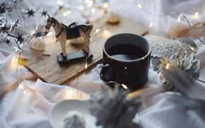 Picture winter, table, horse, holiday, toy, coffee, Christmas, mug, Cup, New year, drink, garland, bump, figure, …