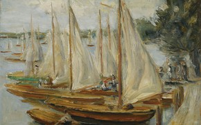 Picture landscape, picture, 1922, Max Liebermann, Max Liebermann, Sailing Boat on Lake Wannsee