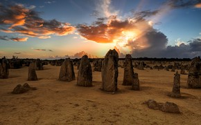 Picture field, the sky, the sun, clouds, rays, light, sunset, clouds, stones, construction, the evening, antiquity, …