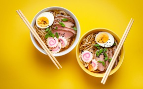 Picture two, food, eggs, sticks, meat, decoration, yellow background, submission, noodles, bowls, Asian cuisine