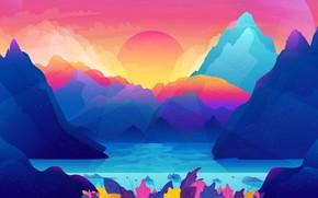 Picture sea, landscape, mountains