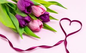 Picture love, flowers, heart, bouquet, tape, tulips, love, heart, pink, flowers, romantic, tulips, purple, ribbon