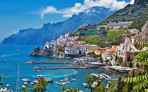 Picture sea, mountain, home, yachts, Italy, Amalfi
