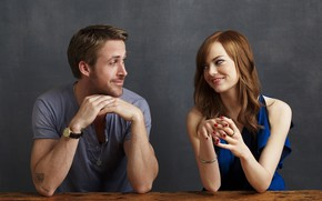 Picture look, girl, smile, pair, male, Emma Stone, Emma Stone, Ryan Gosling