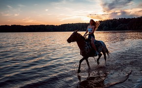 Picture girl, sunset, squirt, river, horse, the evening, Shapar Andrew