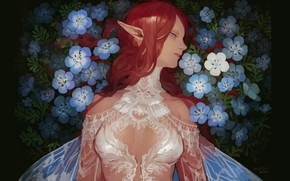 Picture red, lace, elf, wings, white dress, long hair, forget-me-nots, in profile, blue flowers, pointy, elf …