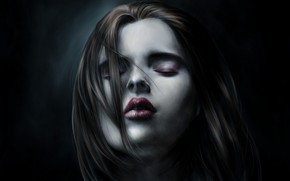 Picture girl, face, darkness