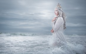 Picture sea, wave, the sky, look, girl, clouds, pose, style, crown, hands, fairy, fantasy, hairstyle, blonde, …