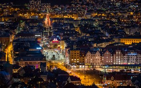 Picture photo, Home, The evening, Night, The city, Street, Norway, Top, Bergen