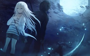 Picture night, the moon, pair, hood, girl, guy, Angel bloodshed, Satsuriku no Tenshi